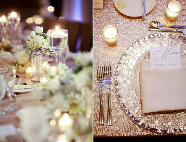 Winter Wedding Gold Sparkle Linens