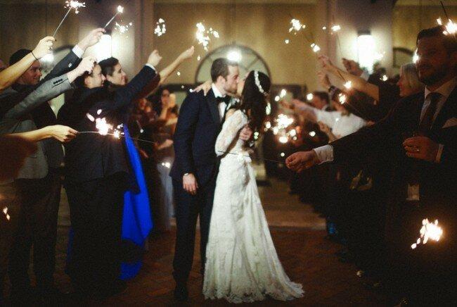 Winter Wedding, Sparkler Exit